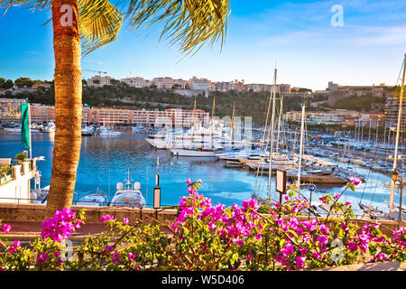 Monte Carlo yachting harbor and waterfront view, Principality of Monaco - Stock Photo