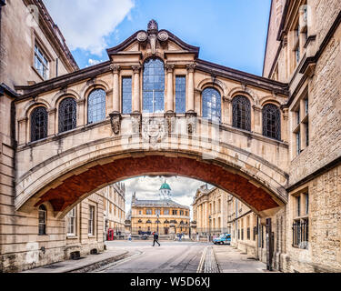 6 June 2019: Oxford, UK - Hertford Bridge, popularly known as the Bridge of Sighs, joins parts of Hertford College across New College Lane. In the... - Stock Photo