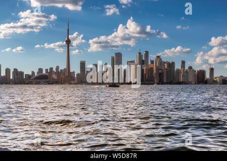 Toronto city skyline at sunny summer day - Stock Photo