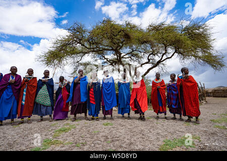 Traditional Masai Jumping Dance at a Masai Village, Tanzania, East Africa - Stock Photo