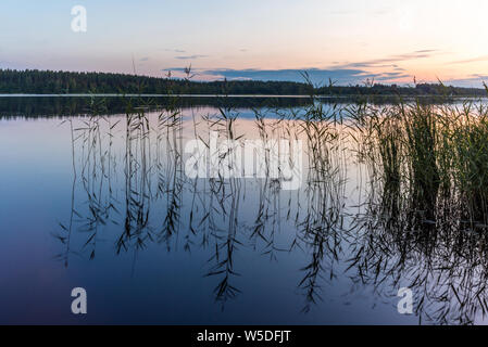 Reflections on the calm waters of the Saimaa lake in Finland at Sunset  - 7 - Stock Photo