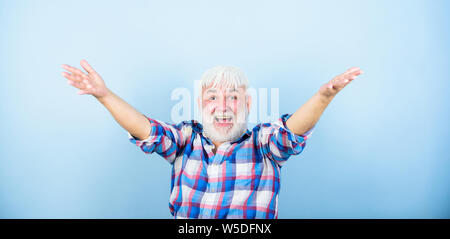 Positive emotion. Successful hipster lucky guy. Grandpa happy cheerful joyful. Finally retirement. Successful pensioner. Satisfied achieved success. Life goals. Successful man celebrating achievement. - Stock Photo