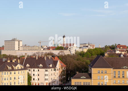 Aerial view over Augsburg with the tower of the old town hall, Augsburg, Germany - Stock Photo