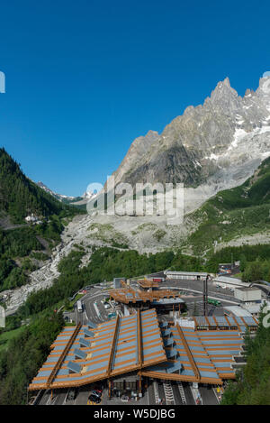 Main entrance of Monte Bianco Tunnel from Italian side. The Mont Blanc Tunnel is a highway tunnel in Europe, under the Mont Blanc mountain in the Alps - Stock Photo