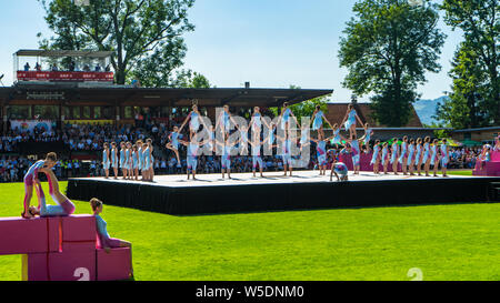 Eröffnungsfeier der World Gymnaestrada 2019 in Dornbirn, Birkenwiesestadion, Österreich - Stock Photo