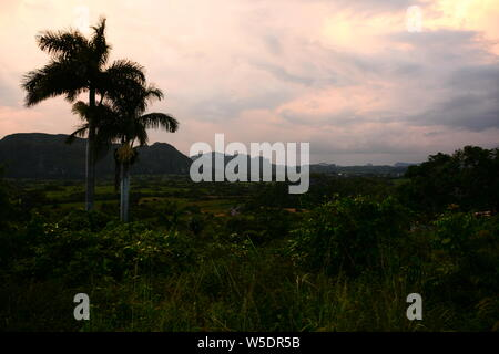 Sunset in Viñales Valley, Pinar del Río Province. - Stock Photo