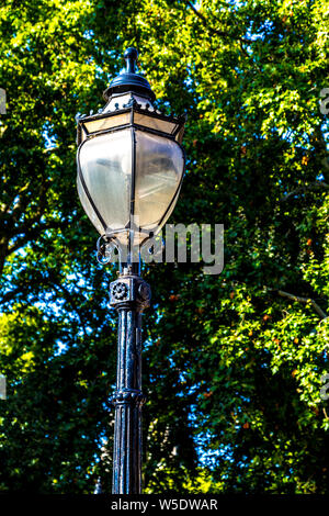 A black old-fashioned street lantern by Bedford Square, London, UK - Stock Photo