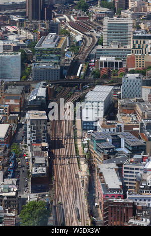 A view west from The Shard looking west along train tracks towards Waterloo East train station. - Stock Photo