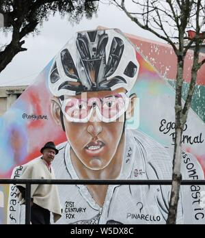 Zipaquira, Colombia. 28th July, 2019. A view of a mural of Colombian cyclist Egan Bernal, in Zipaquira, Colombia, 28 July 2019. The city of Zipaquira woke up today to celebrate the triumph of its illustrious citizen, virtual champion of the Tour de France 2019. Credit: Mauricio Duenas Castaneda/EFE/Alamy Live News - Stock Photo