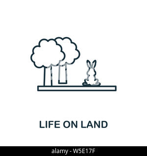 Life On Land outline icon. Thin line style from community icons collection. Pixel perfect simple element life on land icon for web design, apps - Stock Photo