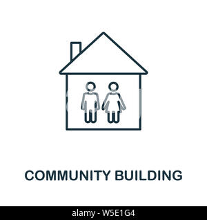 Community Building outline icon. Thin line style from icons collection. Pixel perfect simple element community building icon for web design, apps, sof - Stock Photo