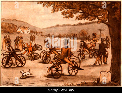 A 1920's illustration of  British  male and female riders in 1820    trying out the newly invented (or improved)  Hobby Horse (aka velocipede or Dandy-Horse craze. - Stock Photo