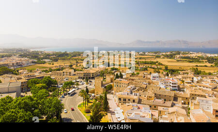 Aerial view of architecture of old town Alcudia, Palma de Mallorca, Spain - Stock Photo