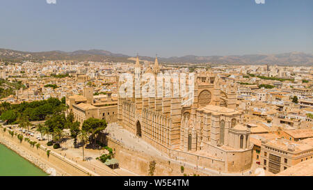Aerial view of Cathedral of Santa Maria of Palma city, Palma de Mallorca, Spain. Popular tourist destinations - Stock Photo