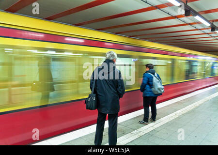Moving train of the train in Berlin - Stock Photo