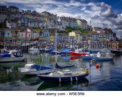 GB - Devon: Picturesque Brixham Harbour  (HDR-Image) - Stock Photo