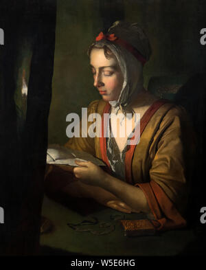 Anna Romana Wright Reading by Candlelight by Joseph Wright of Derby (1734-1797), oil on canvas, c.1795 - Stock Photo