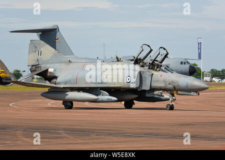 Hellenic Air Force McDonnell Douglas F-4 Phantom II jet plane of 338 Squadron Ares. F-4E Peace Icarus 2000 (PI2000), F-4E Phantom II AUP. Greek - Stock Photo