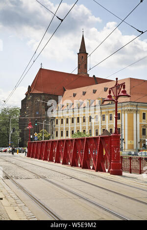 Sand Bridge - Most Piaskowy and  Cathedral of  St. Vincent and St. James in Wroclaw. Poland - Stock Photo