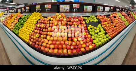 WHARTON, NJ, USA - JULY 28, 2019: Shelves with fresh fruits in a Shoprite supermarket. - Stock Photo