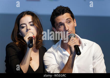 Cap of Agde, France.22th June, 2019.Day 5 - Lou Gala and Paul Granier perform on stage at Herault of Cinema and Television at Congress Palace - Stock Photo