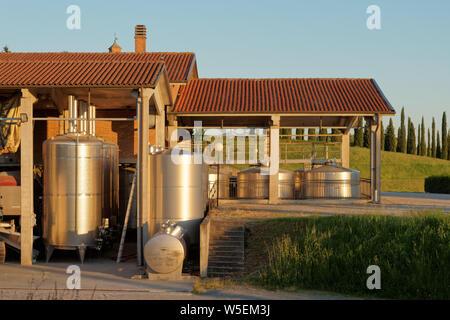 Winery equipment shot an sunset - Stock Photo