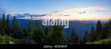 Beautiful Panoramic View of American Mountain Landscape during a vibrant and colorful summer sunset. Taken from Sun Top Lookout, in Mt Rainier Nationa - Stock Photo