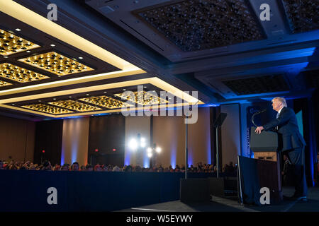 Washington, United States Of America. 23rd July, 2019. President Donald J. Trump delivers remarks at the Turning Point USA Teen Action Summit Tuesday, July 23, 2019, at the Marriott Marquis in Washington, DC People: President Donald Trump Credit: Storms Media Group/Alamy Live News - Stock Photo
