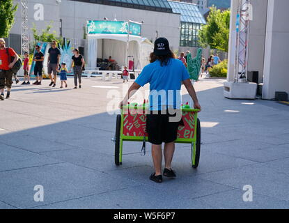Montreal Quebec, Canada. Jul 2019. Events, comedy shows, performers, and fun and food, at the Just For Laughs Festival. Illustrative Editorial. - Stock Photo