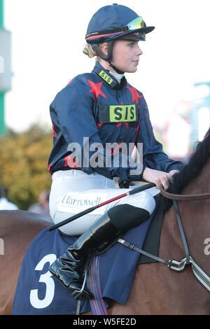 Jockey Poppy Bridgewater at Brighton Racecourse - Stock Photo