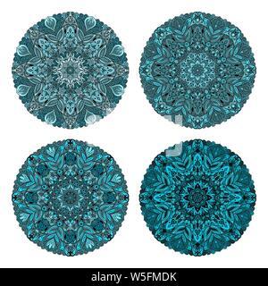 Set of circular patterns. Colored mandala. Round geometric ornaments set. Vector circular geometric ornament. Round pattern. - Stock Photo