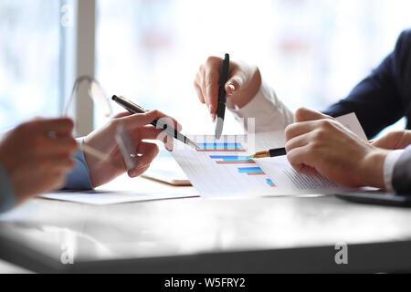 close up. the business team analyzes the financial data. - Stock Photo