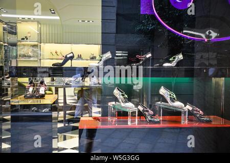 Milan, Italy - September 21, 2018: Prada store in Milan. Montenapoleone area. Fashion week Prada
