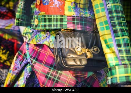Milan, Italy - September 21, 2018: Versace store in Milan. Montenapoleone area. Fashion week Versace shopping.