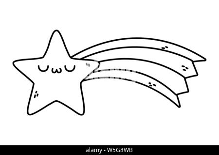 Star cartoon design, Kawaii expression cute character funny and emoticon theme Vector illustration - Stock Photo