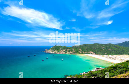 Beautiful bays on the sunny afternoon near the lighthouse Dai Lanh, Phu Yen, Vietnam - Stock Photo