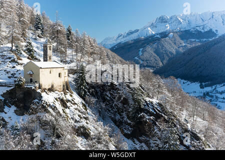 Italy, Lombardy, Retiche Alps, Camonica Valley, the ancient alpine church of San Clemente - Stock Photo