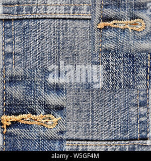 Photo with denim texture fabric. Background with the composition of different types of denim fabric in different colors