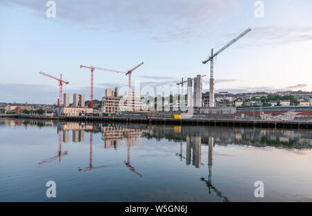 Cork City, Cork, Ireland. 29th July, 2019. A bright dry morning over the city as development of the six acre site on Horgan's Quay and Penrose Wharf continues along the River Lee in Cork City, Ireland.Credit;  David Creedon / Alamy Live News - Stock Photo