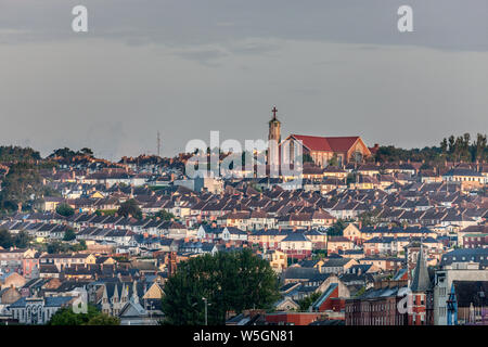 Cork City, Cork, Ireland. 29th July, 2019. Early dawn light illuminates the Church of the Ascension and homes on the northside of Cork City, Ireland. Credit;  David Creedon / Alamy Live News - Stock Photo