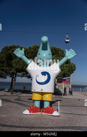 Gil, the 1998 Expo mascot, in Parque das Nacoes, Lisbon - Stock Photo