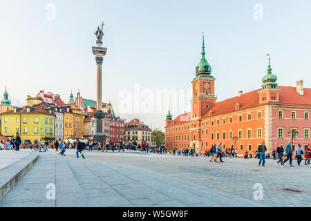 Sigismund's Column and Royal Castle in Castle Square in the old town, UNESCO World Heritage Site, Warsaw, Poland, Europe - Stock Photo