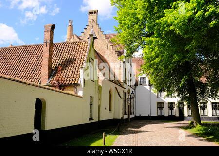 Begijnhof (Beguinage), Order of St. Benedict Convent, UNESCO World Heritage Site, Bruges, Belgium, Europe - Stock Photo