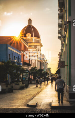 Antiguo Ayuntamiento, government building at sunset, UNESCO World Heritage Site, Cienfuegos, Cuba, West Indies, Caribbean, Central America - Stock Photo