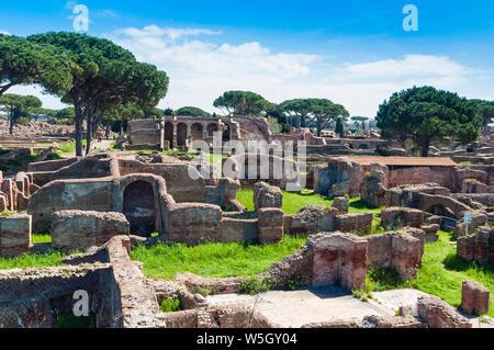 Block of Bacchus and Arianna, Ostia Antica archaeological site, Ostia, Rome province, Lazio, Italy, Europe - Stock Photo