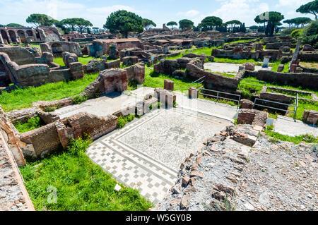 Mosaic, Block of Bacchus and Arianna, Ostia Antica archaeological site, Ostia, Rome province, Lazio, Italy, Europe - Stock Photo