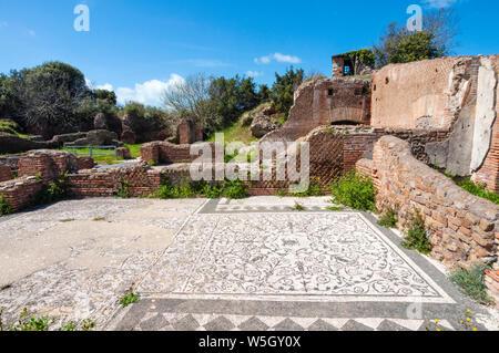 Mosaic of Medusa, Block of Bacchus and Arianna, Ostia Antica archaeological site, Ostia, Rome province, Lazio, Italy, Europe - Stock Photo