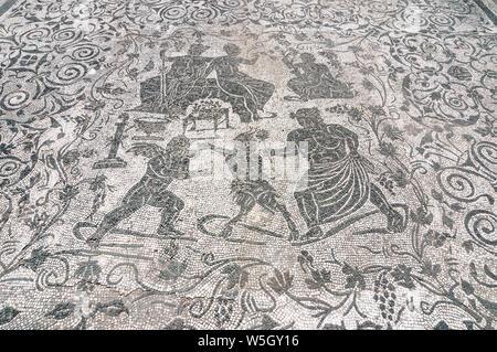 Mosaic di Bacco e Arianna, Block of Bacchus and Arianna, Ostia Antica archaeological site, Ostia, Rome province, Lazio, Italy, Europe - Stock Photo