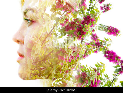 Double exposure with an ecological concept showcasing the beautiful femine nature of flowers - Stock Photo