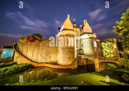 Starry Night over Château des ducs de Bretagne, Nantes, Bretagne, Loire-Atlantique, France - Stock Photo